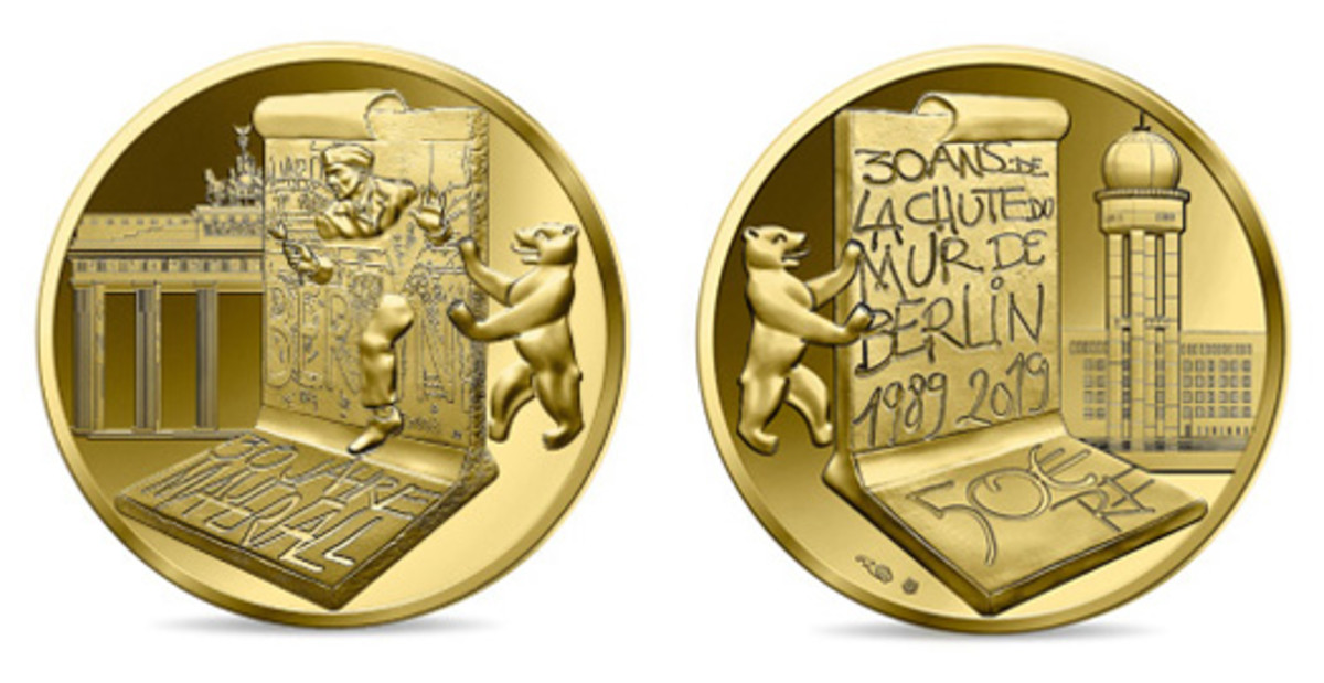 East Berlin's Brandenburg Gate and West Berlin's Tempelhof Airport provide backdrops for tagged Wall sections on the obverse and reverse of this commemorative €50. (Images courtesy & © Monnaie de Paris)