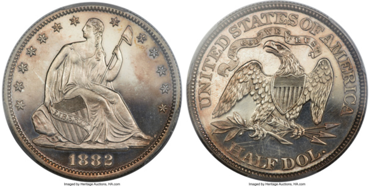An 1882 Seated Liberty half dollar PCGS-graded PR-65 Cameo. (Images courtesy Heritage Auctions, www.HA.com.)