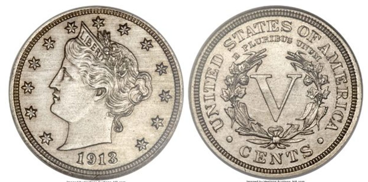 The Olsen specimen of the 1913 Liberty Head nickel. It was sold for $3.29 million by Heritage Auctions in 2014. B. Max Mehl auctioned the same coin, in 1944, for $3,750. (Images courtesy Heritage Auctions.)