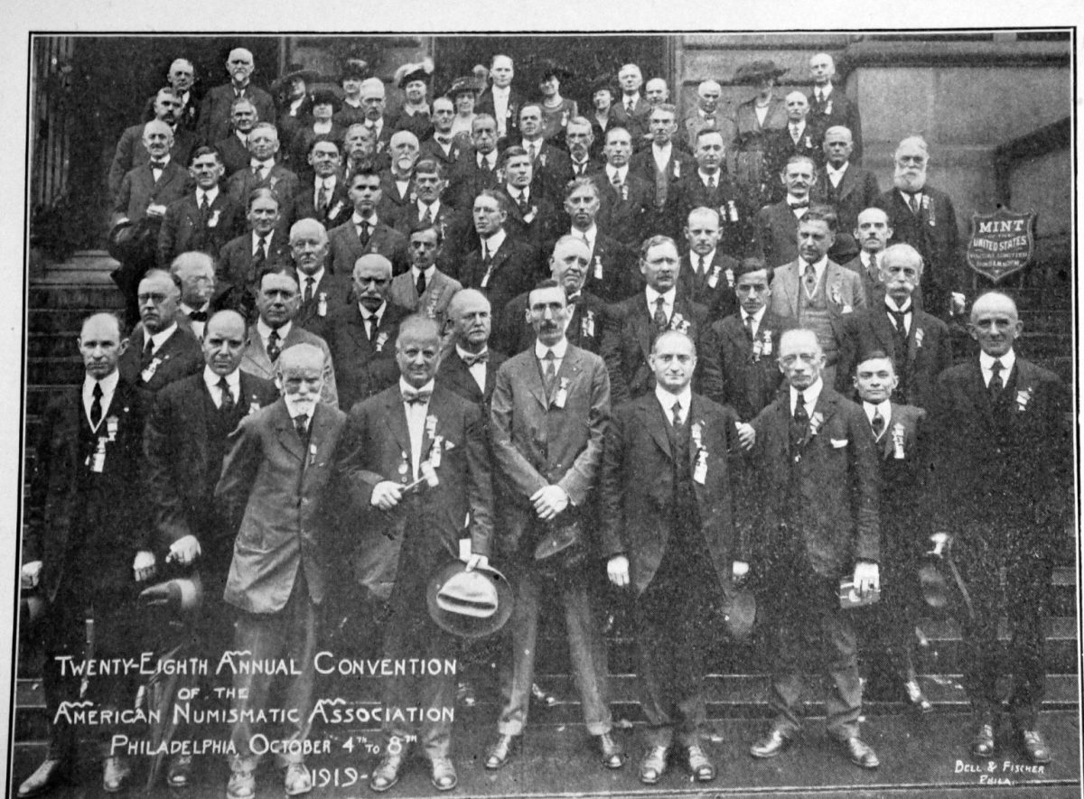 Samuel W. Brown (far left in the second row from the top) pictured on the steps of the Philadelphia Mint in October 1919. He is The photo was taken following a tour of the mint. Reproduced from Mehl's Numismatic Monthly, November 1919.
