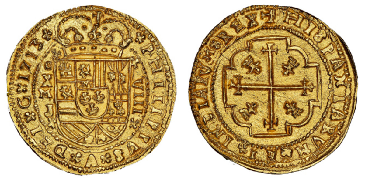 This Mexico City, Mexico 1713J cob 8 escudos Royal will be offered during Daniel Frank Sedwick, LLC's Treasure Auction 28 on Nov. 17. (Images courtesy Daniel Frank Sedwick LLC)