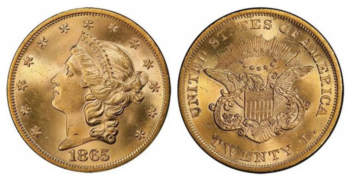 The owner of the BigMo Collection of Civil War Coinage names this 1865 double eagle graded MS-65 as his favorite. (All images courtesy Legend Rare Coin Auctions.)