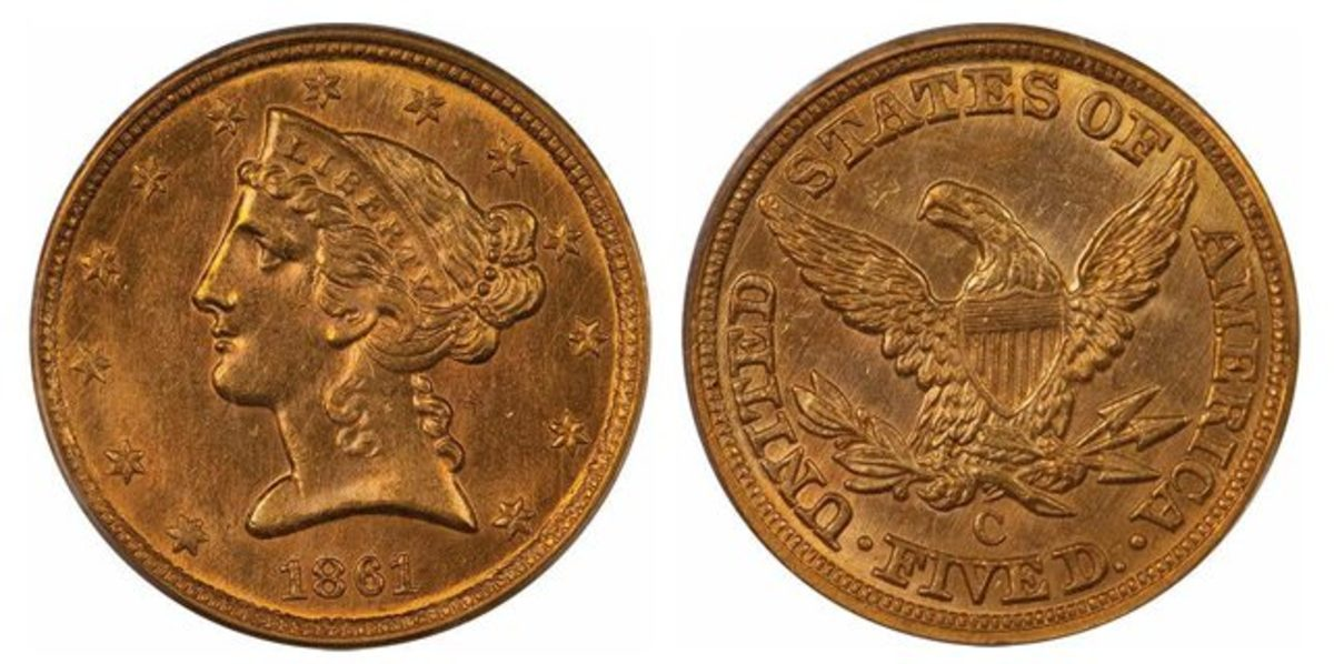 A highlight of Legend Rare Coin's final Regency Auction of the year is an 1861-C $5 graded MS-63.