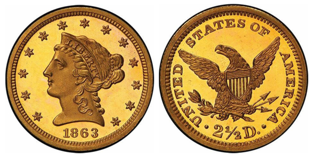 Another standout lot is an 1863 $2.50 piece graded an impressive PR-65+ DCAM.
