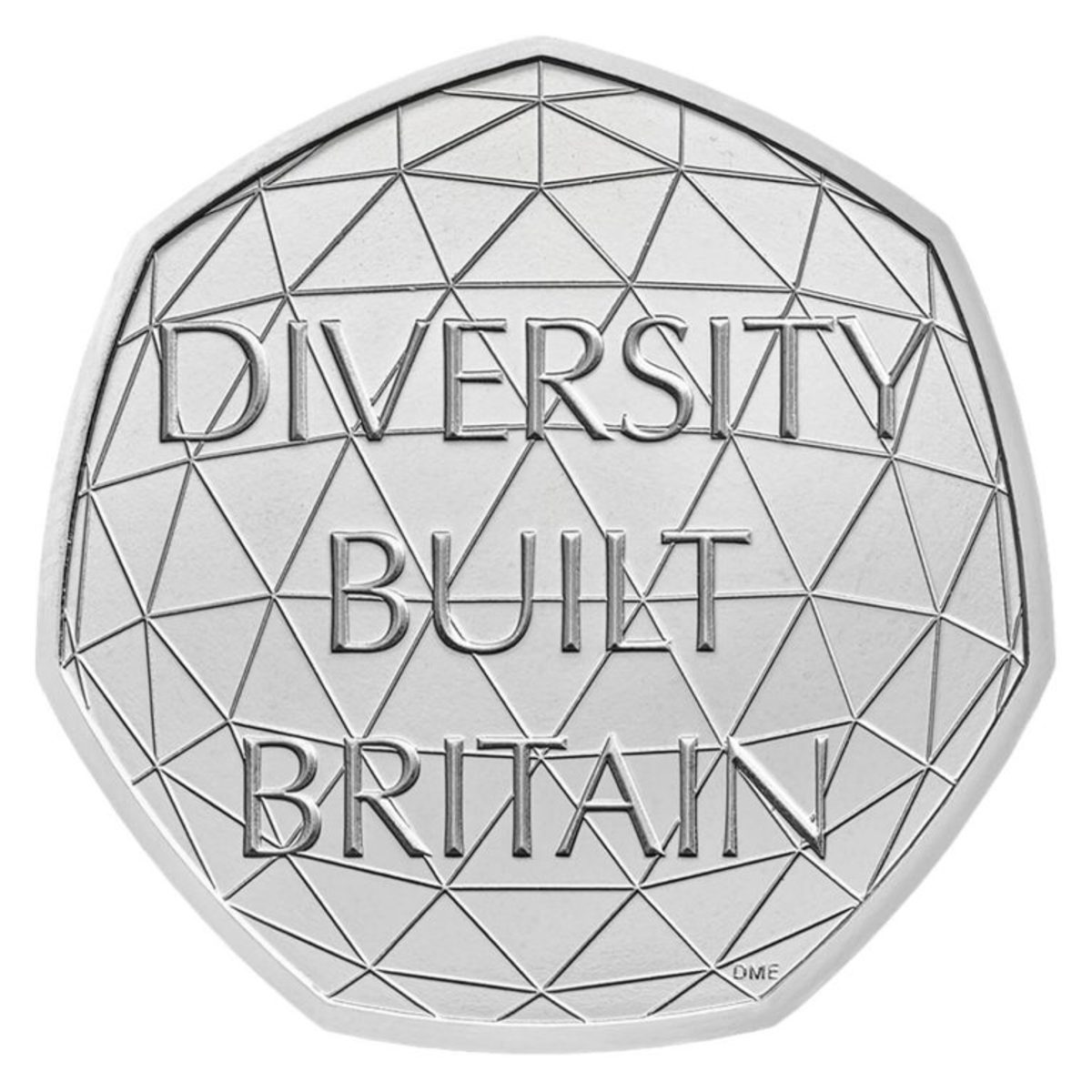 A connected concept design featured on the 50 pence honoring the great and diverse population that built modern-day Great Britain.