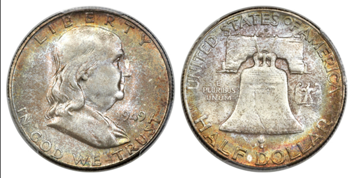 A 1949-S Franklin half dollar, PCGS-graded MS-67. (Images courtesy Heritage Auctions.)