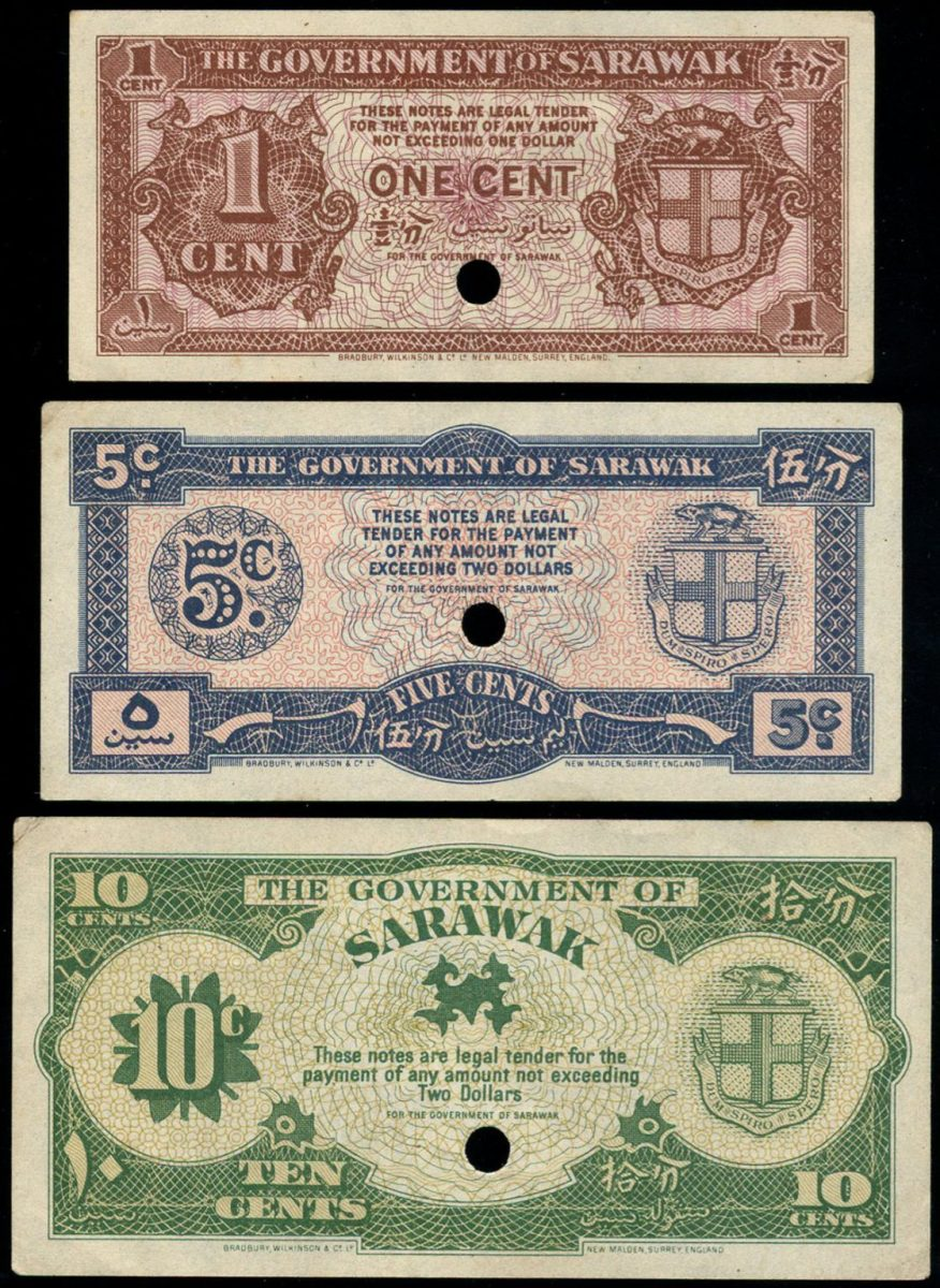 Faces of the three 1945 emergency fractional notes prepared to assist the rebuilding of post-war Sarawak. They were never issued. The three will be offered by Spink in their NYINC sale in January. (Images courtesy and copyright Spink London.)