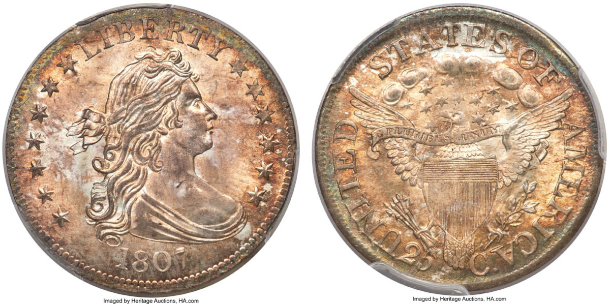 The Bob R. Simpson Collection 1807 Draped Bust quarter, finest-known, brought $630,000 in Heritage's Nov. 19-22 auction. It was the top lot in the $14,513,117 sale. (All images courtesy Heritage Auctions, HA.com.)