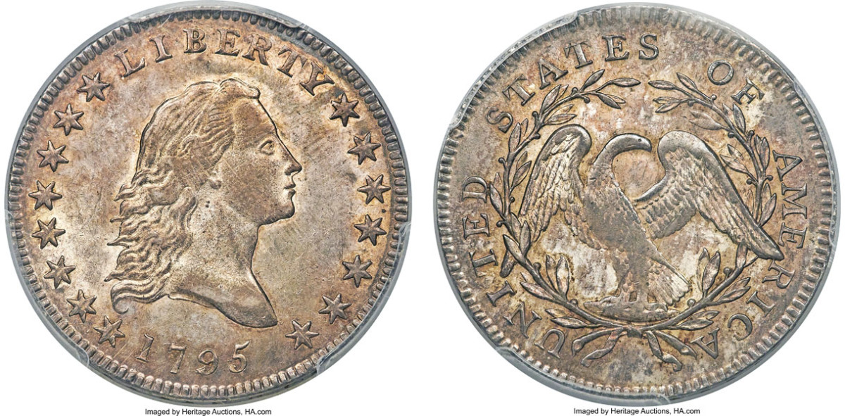 A Mint State 1795 Small Head half dollar hammered at $528,000.