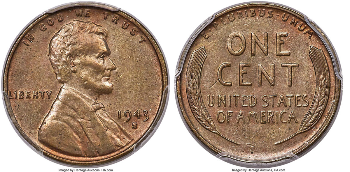 A 1943-S cent struck on a bronze planchet and graded MS-63 Brown garnered $504,000.