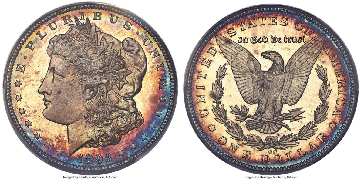 A proof 1893-CC Morgan dollar found a new home for $204,000.