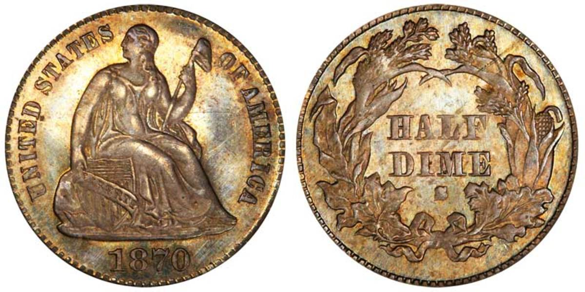 For being a unique coin, the 1870-S half dime should bring stronger prices than what we've seen. (Images courtesy usacoinbook.com.)