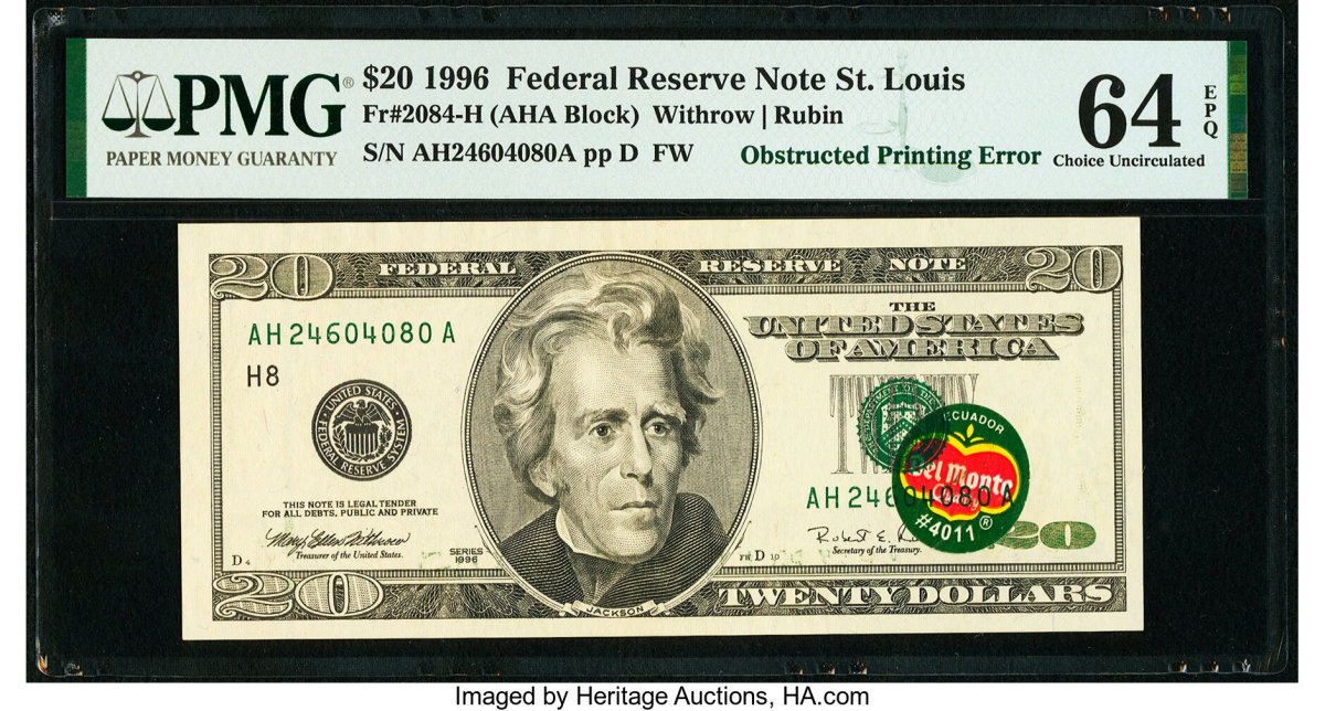 Fr. 2084-H_$20_1996_Federal_Reserve_Note_PMG_Choice_Uncirculated_64_EPQ_Heritage_Auctions_1