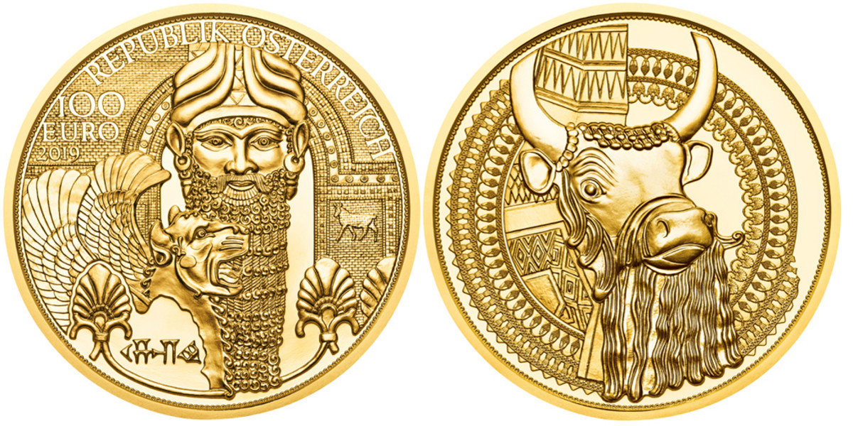 The legendary King Nebuchadnezzar II is appropriately featured on the obverse of this 100 Euro of Austria commemorating the Gold of Mesopotamia. Nebuchadnezzer erected a huge golden statue and made his subjects worship at its base. Gold was equivalent to power in Mesopotamia, much as wealth equates to power today. The reverse details a bull's head from the Golden Lye of Ur created roughly 4,500 years ago.