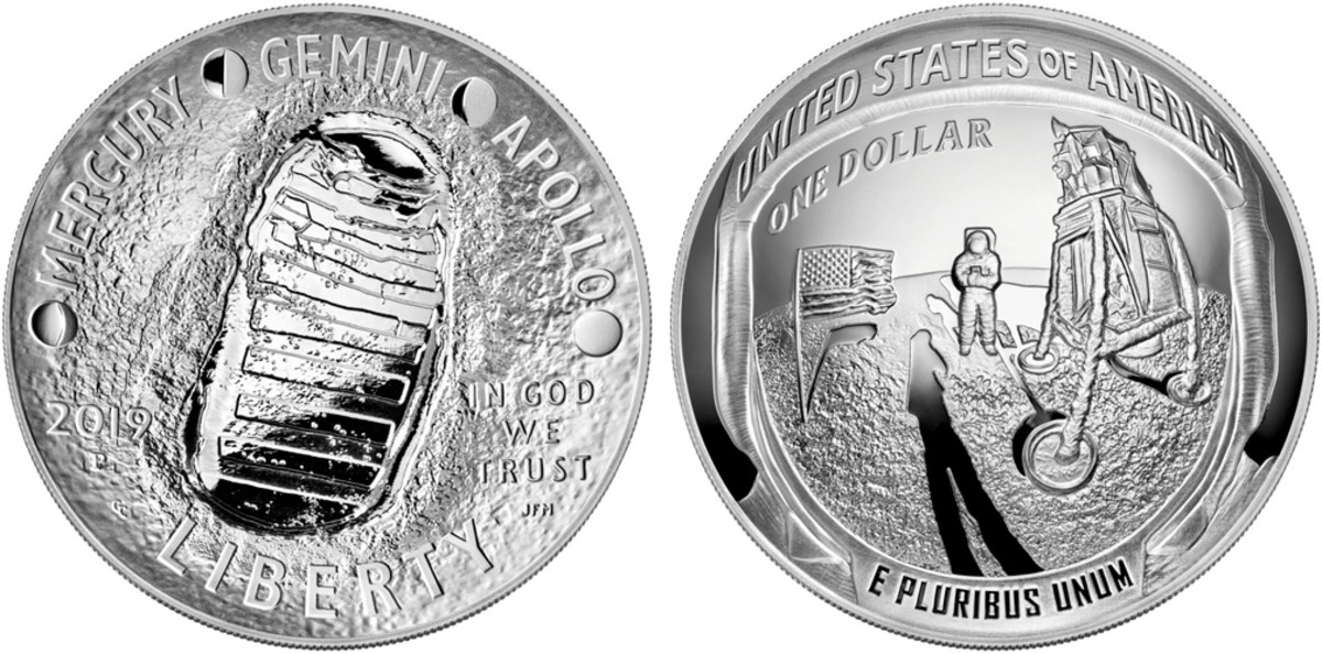 The great popularity of the 50th Anniversary of the Apollo Moon Landing event brought many coin issues. Three were honored with nomination in the Contemporary event category, including this curved silver dollar struck for the series from the United States Mint. Notice the use of the curve to produce a fish-eye lens effect.