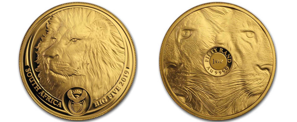 Africa's Big 5 series features gold and silver strikes of the majestic symbols of African wildlife. This one-ounce gold 50 rand provides outstanding views of the lion from three angles. The design is so vibrant that you can look into the eyes and sense their character.