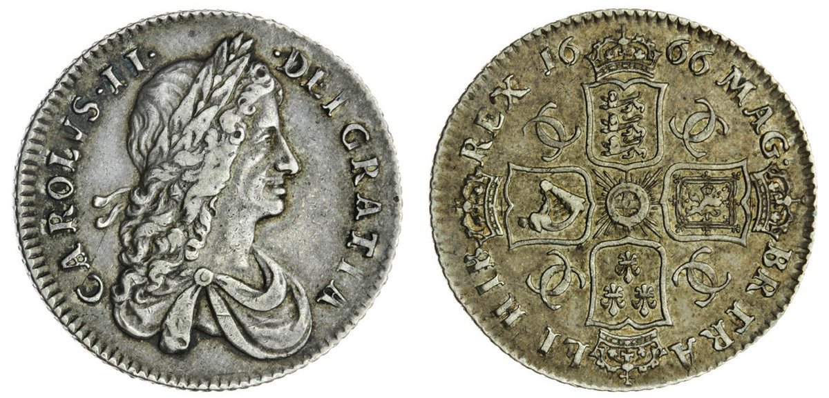 "The ""horrendously rare"" 1666 first bust shilling of Charles II, lacking elephant below bust (S-3372)."