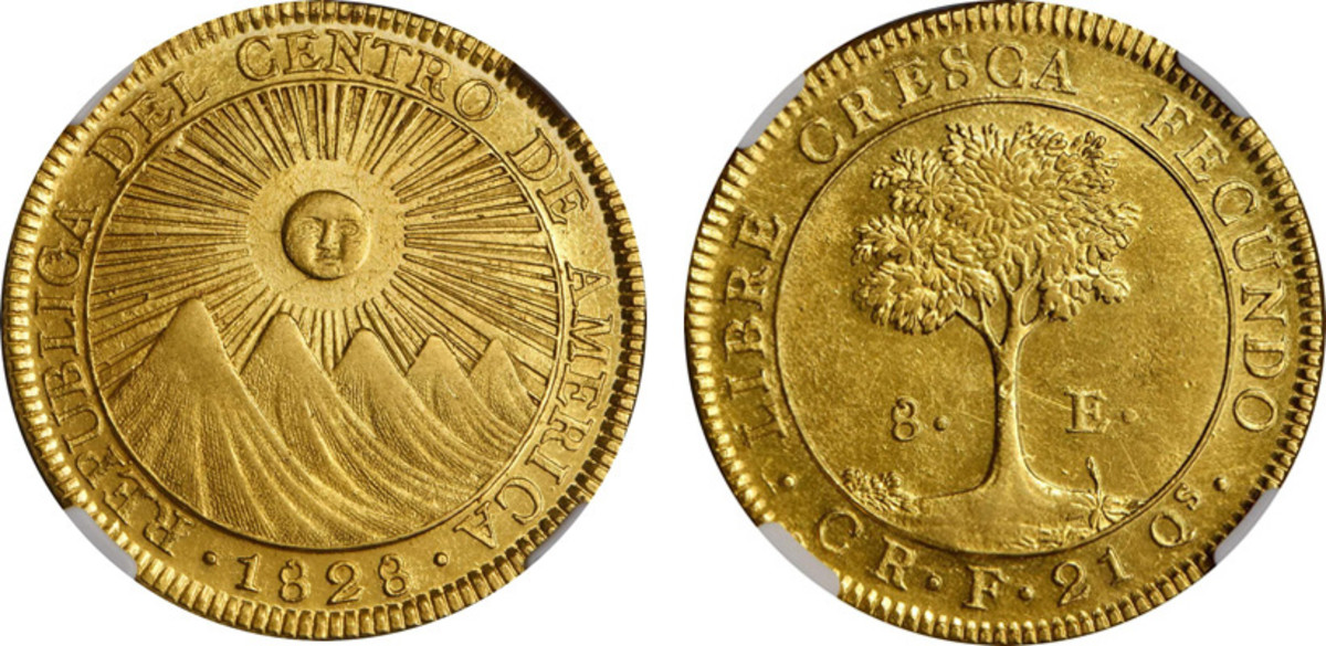The bold radiant sun over mountains obverse and simple tree reverse designs make the Central American Republic coinage truly classic. This 1828 CR F 8 Escudos is at present the finest graded example of a CAR San Jose coin of any type.