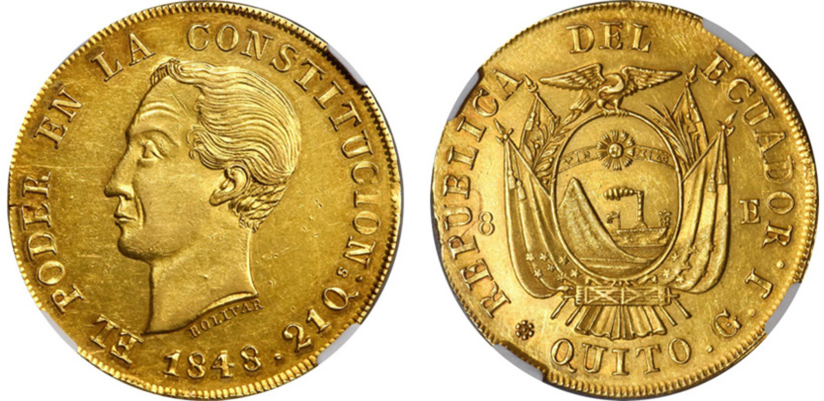 A very sharp strike and a very rare date combine to make this 1848 QUITO G.J. 8 Escudos of Ecuador one of the great coins in the Oro del Nuevo Mundo Collection.