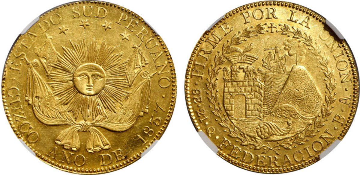 One of the sharpest strikes I've seen of this rare State of South Peru 8 Escudos. The second highest certified example and sure to drive active bidding at the Stack's Bowers NYINC auction in January.