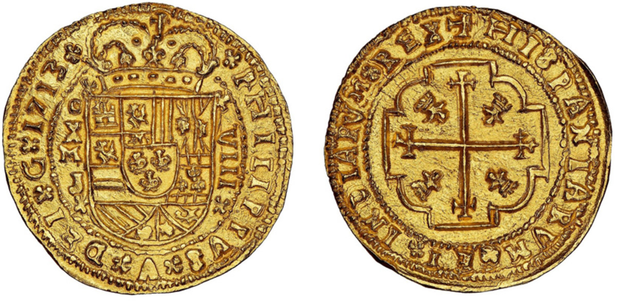 The finest of two known 8 Escudo Royal strikes of 1713MXo J, with provenance to the Isaac Rudman collection. This stellar coin realized a final price of $396,000 including buyer's premium, in a Daniel Frank Sedwick auction that brought a total of more than $3.4 million.