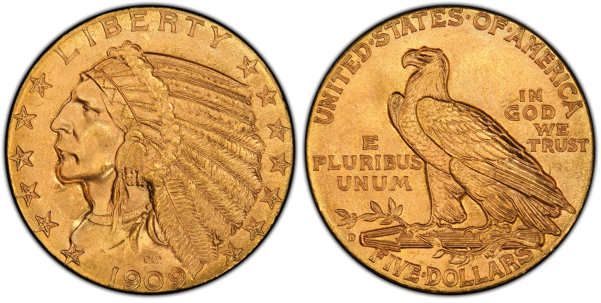 The 1909-D Indian Head $5 half eagle is the most common of the series. (Image courtesy PCGS.)