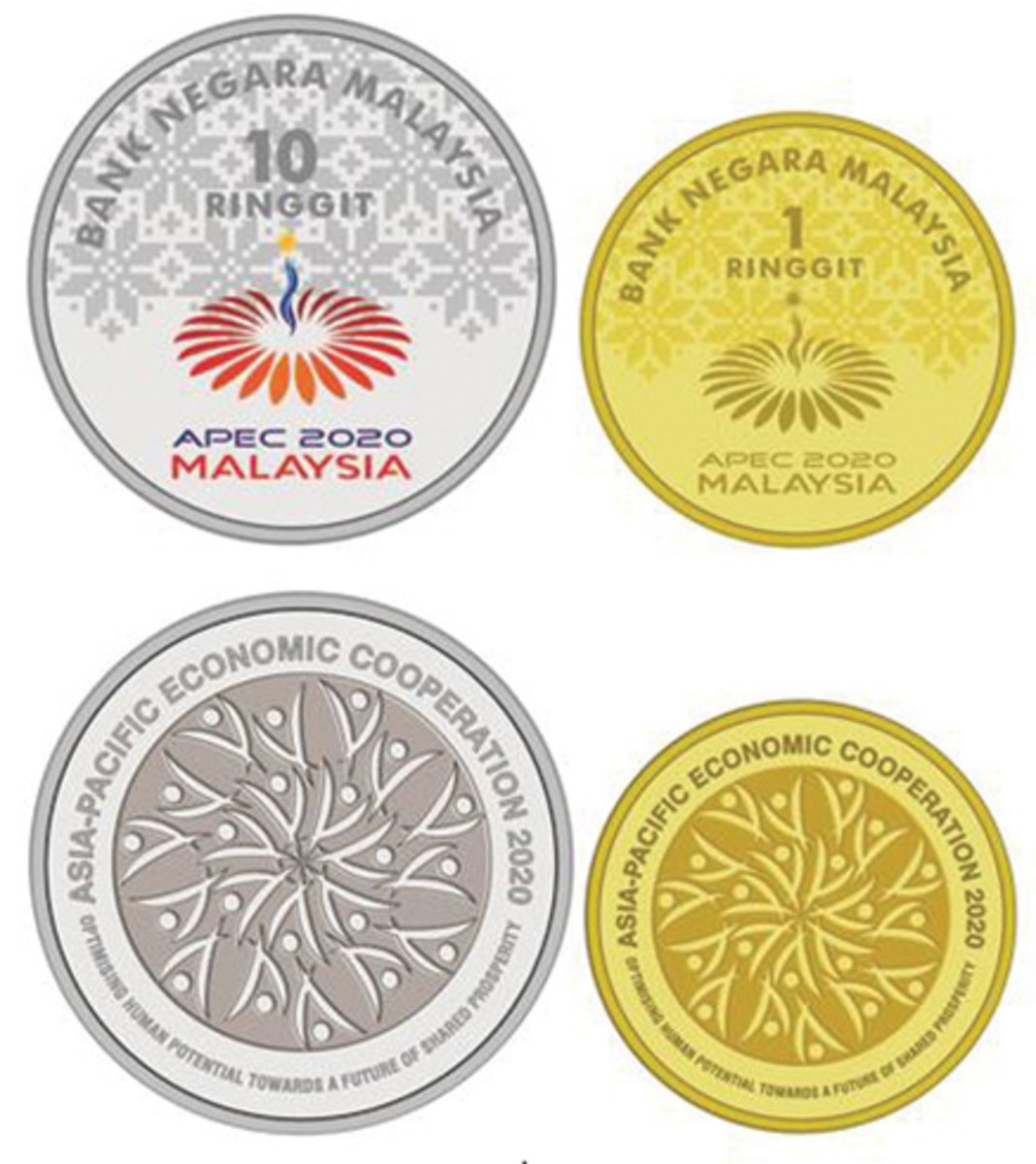 The symbolic design of 21 human figures in harmony on these new coins from Malaysia reflects the 21 APEC member economies cooperating as they strive for a future of shared prosperity.