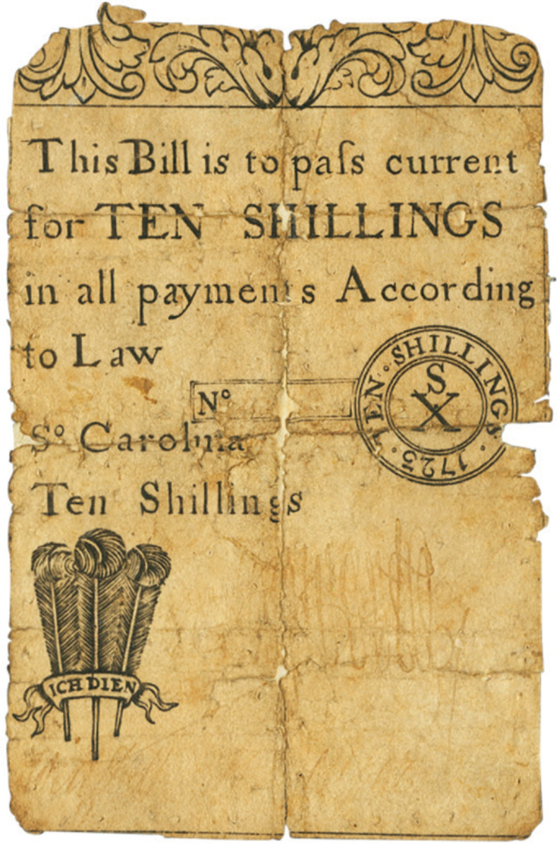 1723 South Carolina 10 Shillings note. (All images courtesy of Heritage Auctions)