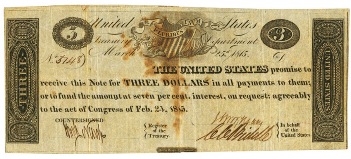 United States, Act of February 24, 1815, $3 Treasury Note.