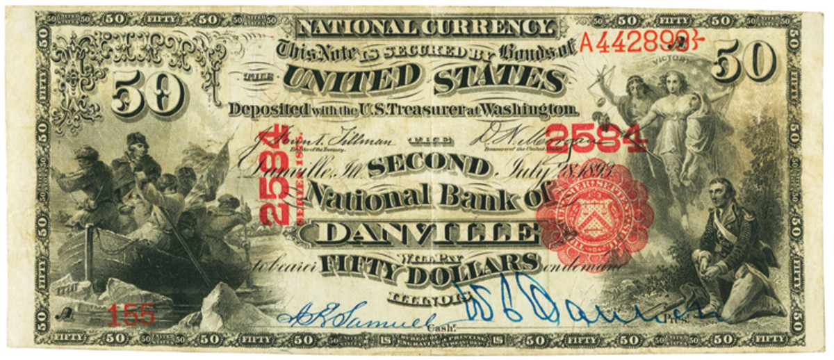 Second National Bank, Danville, Illinois, $50 1875 National Bank Note.