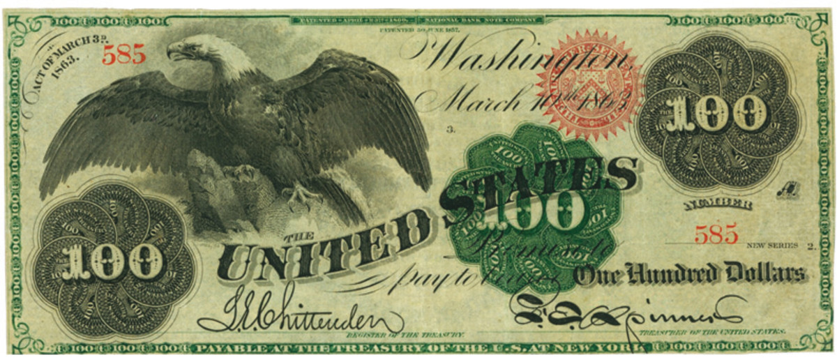 $100 1863 Legal Tender note with engravement work by Joseph Ourden.