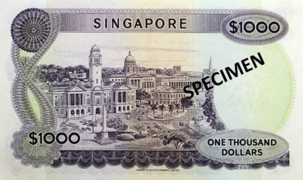 Important government buildings appear on the back of the Singapore $1,000 bank note.