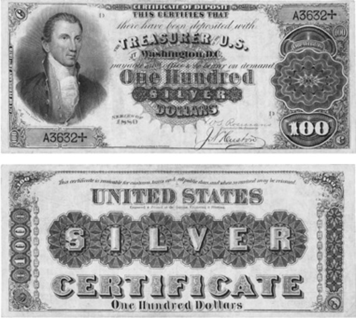FR. 341 $100 1880 Silver Certificate PMG Very Fine 30. Sold for $87,000 in April 2018, but more recently sold for a conservative $52,800 as part of the Mike Coltrane Collection, auctioned in early November 2020. (Image courtesy of Heritage Auctions www.ha.com).