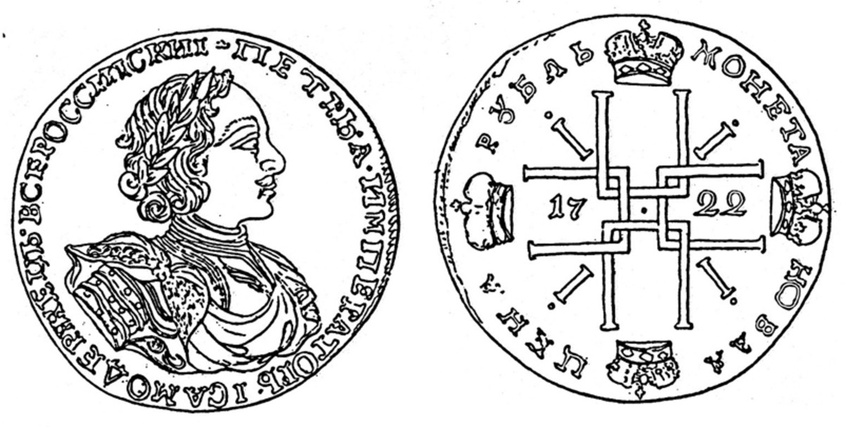 1722 silver ruble, Moscow Mint.