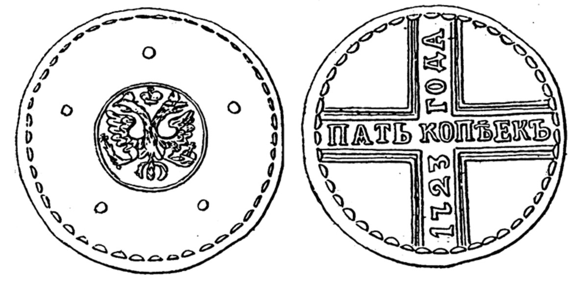 Regular issue 5 kopecks copper, struck 1723-1730.