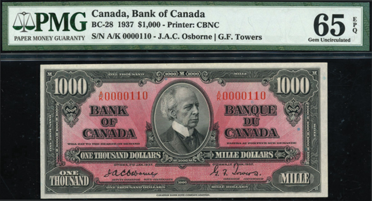 Bank of Canada,$1,000 note dated January 1937. (All images courtesy of Spink)