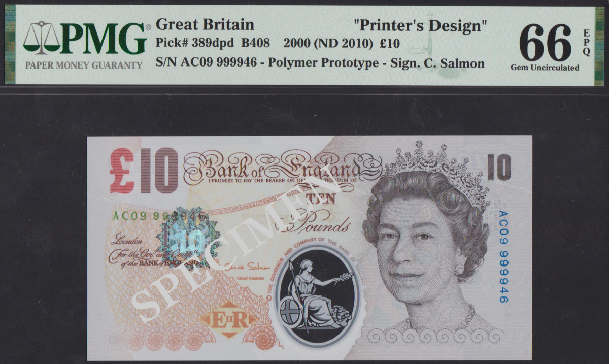 Polymer prototype of Great Britain £6 ND note.