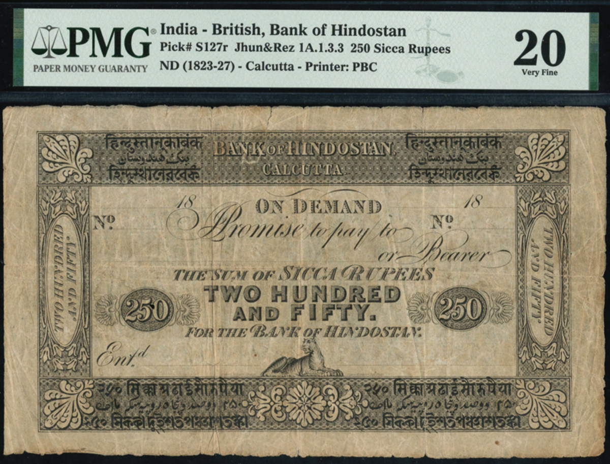 Unissued British, Bank of Hindostan 250 Sicca Rupees note dating ND (1823-1827) that hammered in at £50,000.