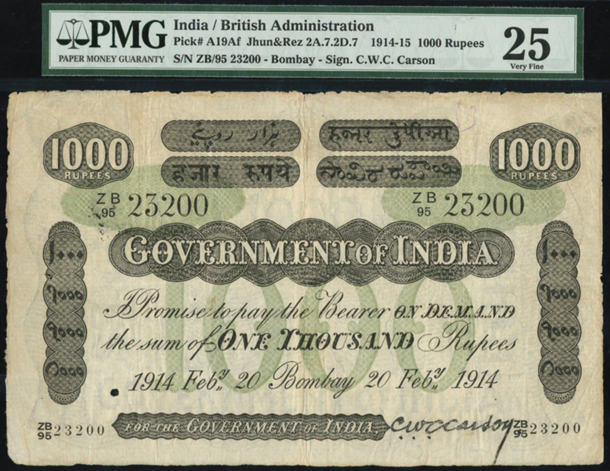 1914-1915 British Administration 1000 Rupees.