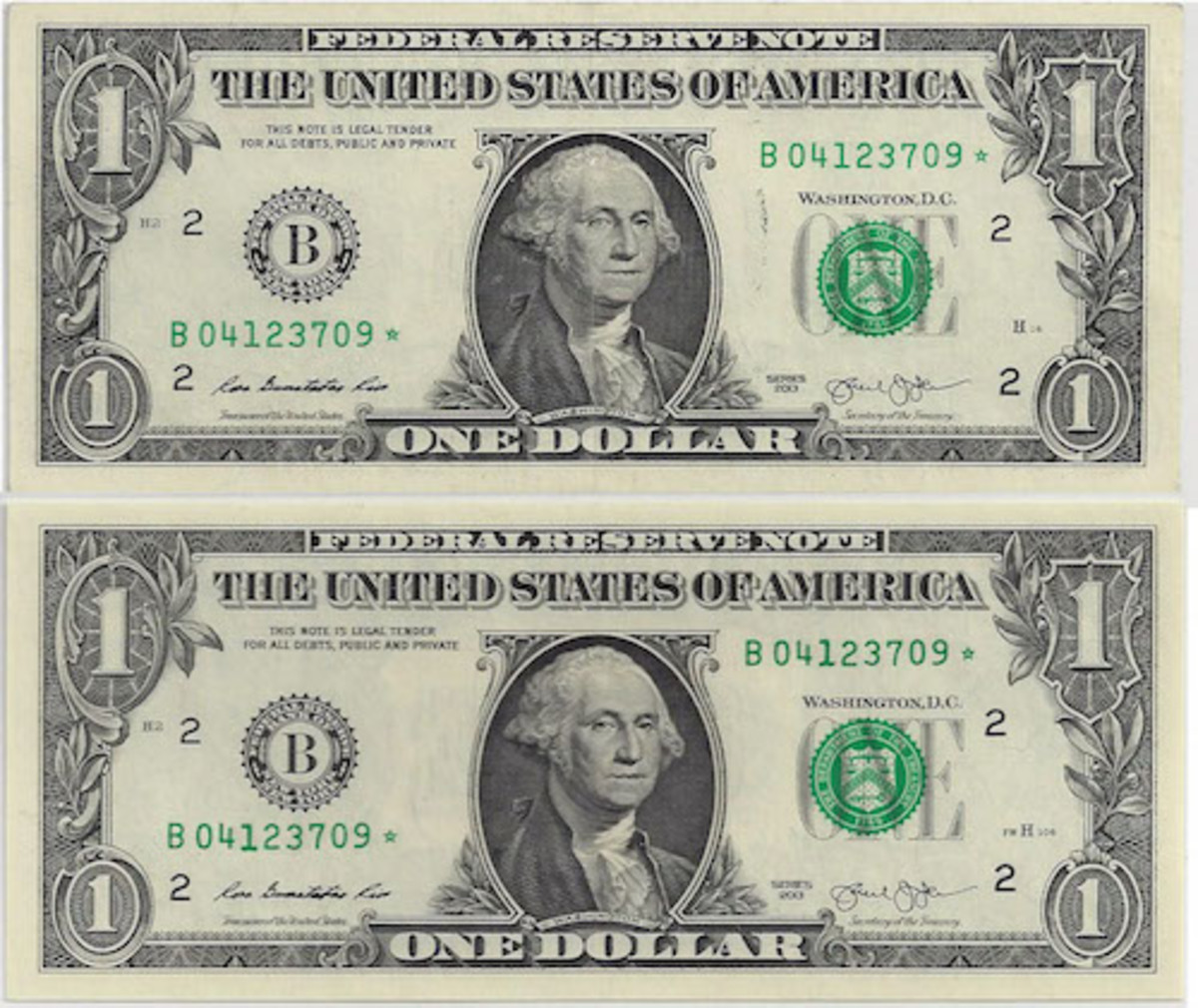 Craig of Las Vegas put together this matched pair of 2013 B* notes from the accidentally duplicated numbering runs printed respectively in Washington and Fort Worth. Notice the FW in front of the plate serial number on the lower note.