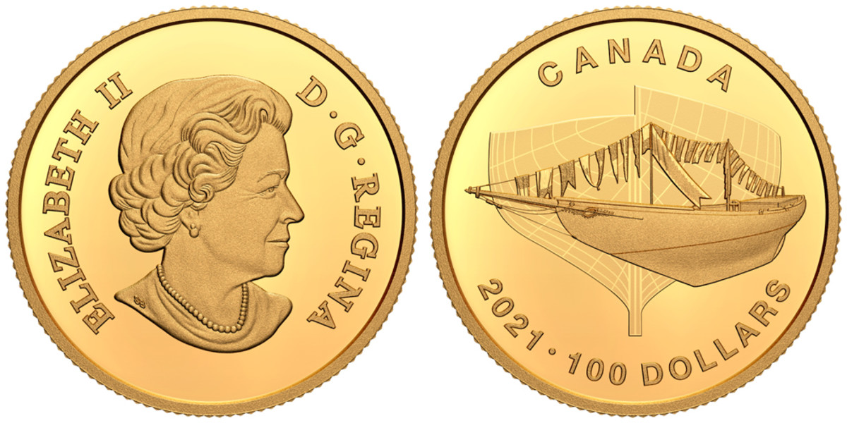 It's back to Queen Elizabeth II for the gold $100 design, which features a cross-cut section of the Bluenose hull in development. And is available now for $865.