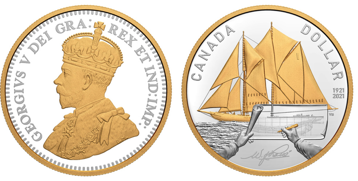 2021 Fine Silver Proof Set - 100th Anniversary of Bluenose Proof Dollar.