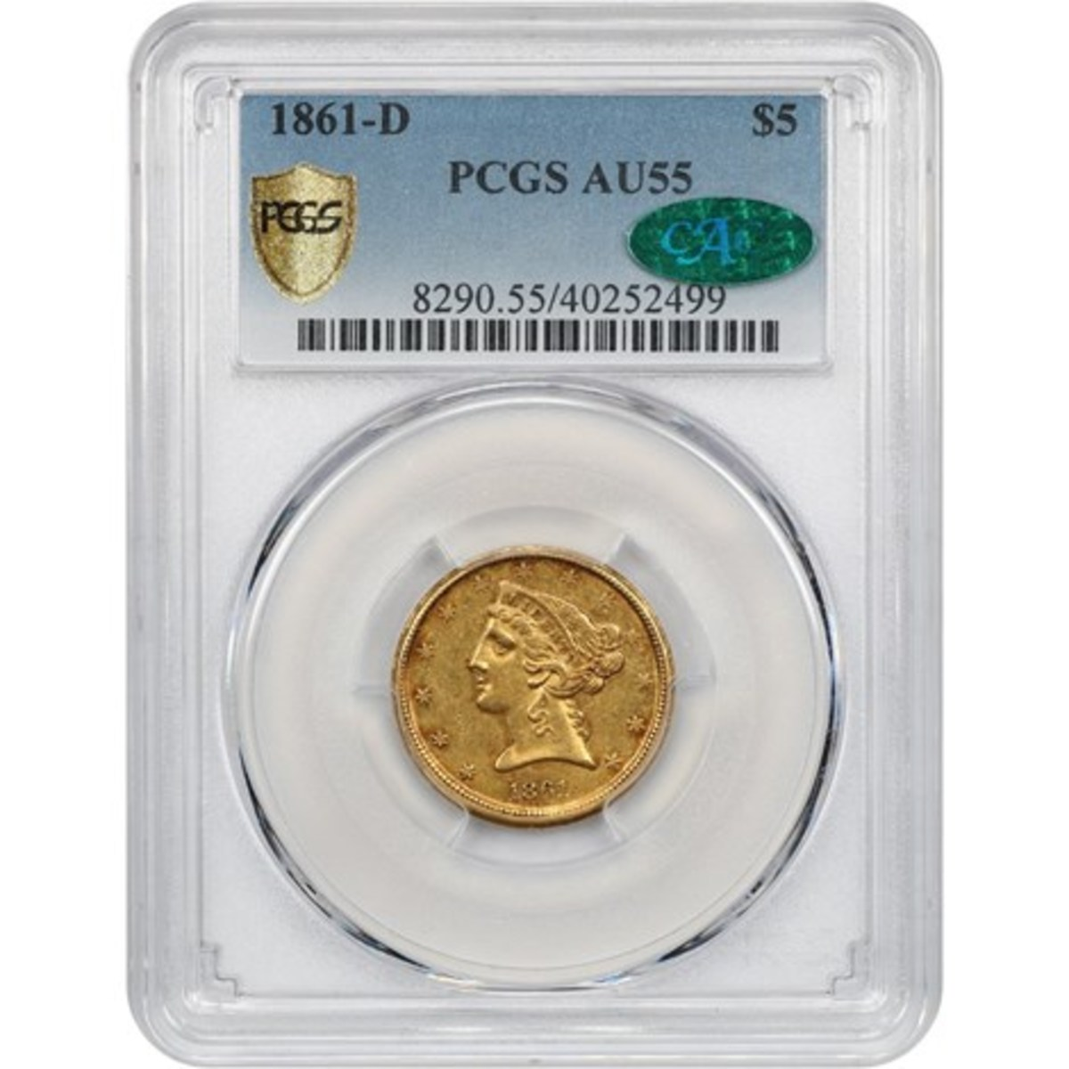 1861-D $5 gold graded AU-55 by PCGS with CAC sticker.