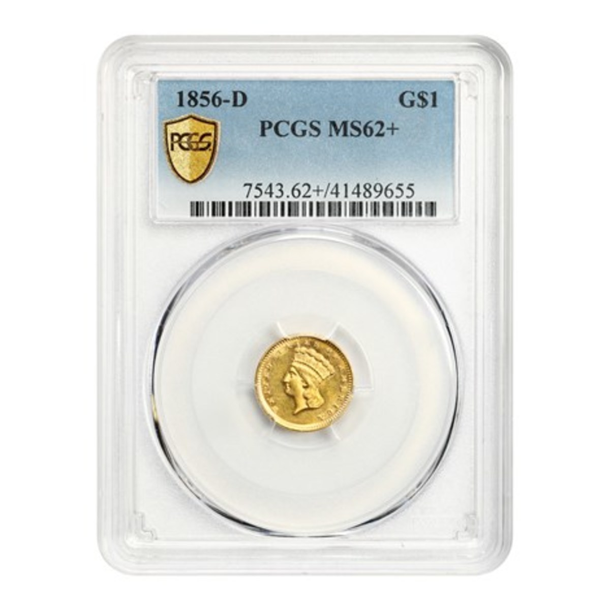 1856-D gold dollar graded MS-62+ by Professional Coin Grading Service (PCGS).