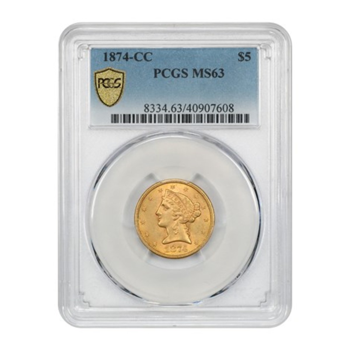 1874-CC $5 gold graded MS-63 by PCGS.