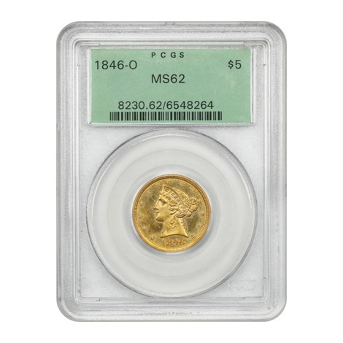 1846-O $5 gold graded MS-62 by PCGS.