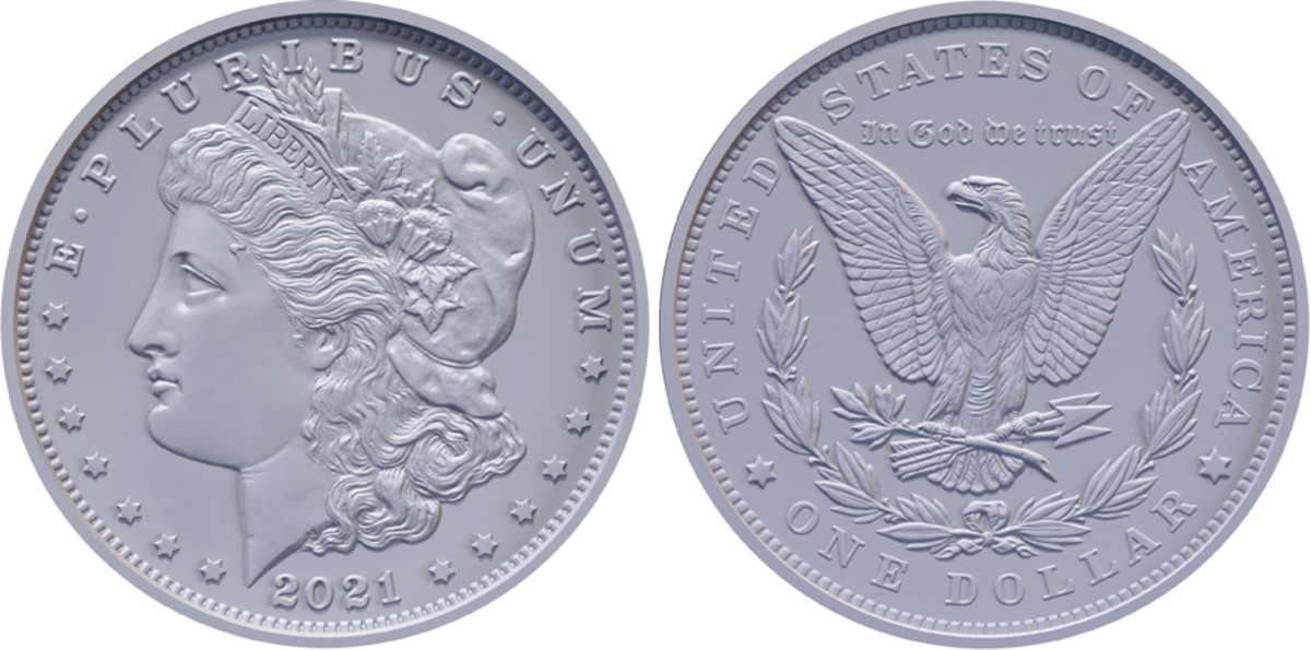 Obverse and reverse designs for the 2021 Morgan dollar.