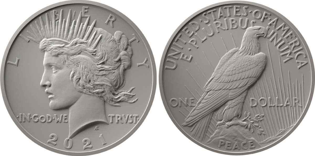 Obverse and reverse designs for the 2021 Peace dollar.