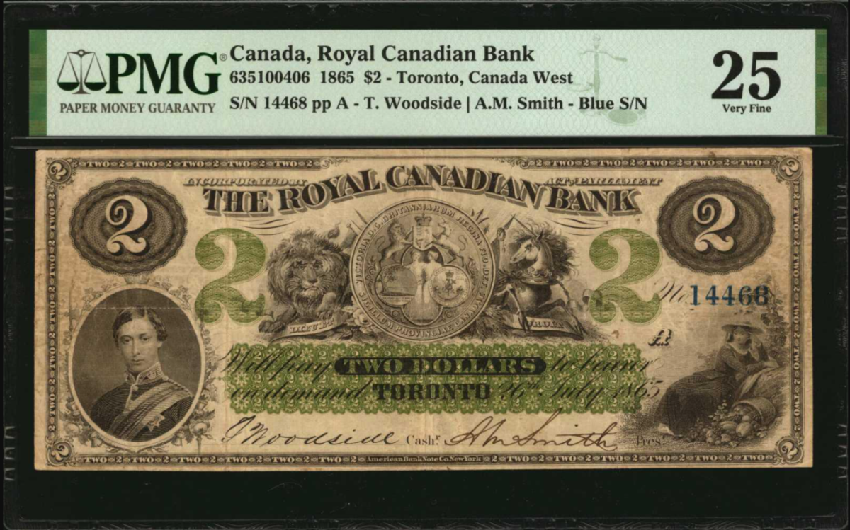 Lot 30071, Canada, $2 dated 1865.