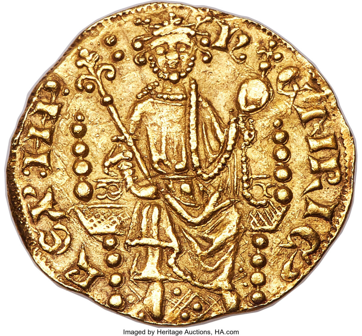 The first gold coin struck in England.